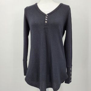 Chaser Black Waffle Knit Thermal Long Sleeve Top